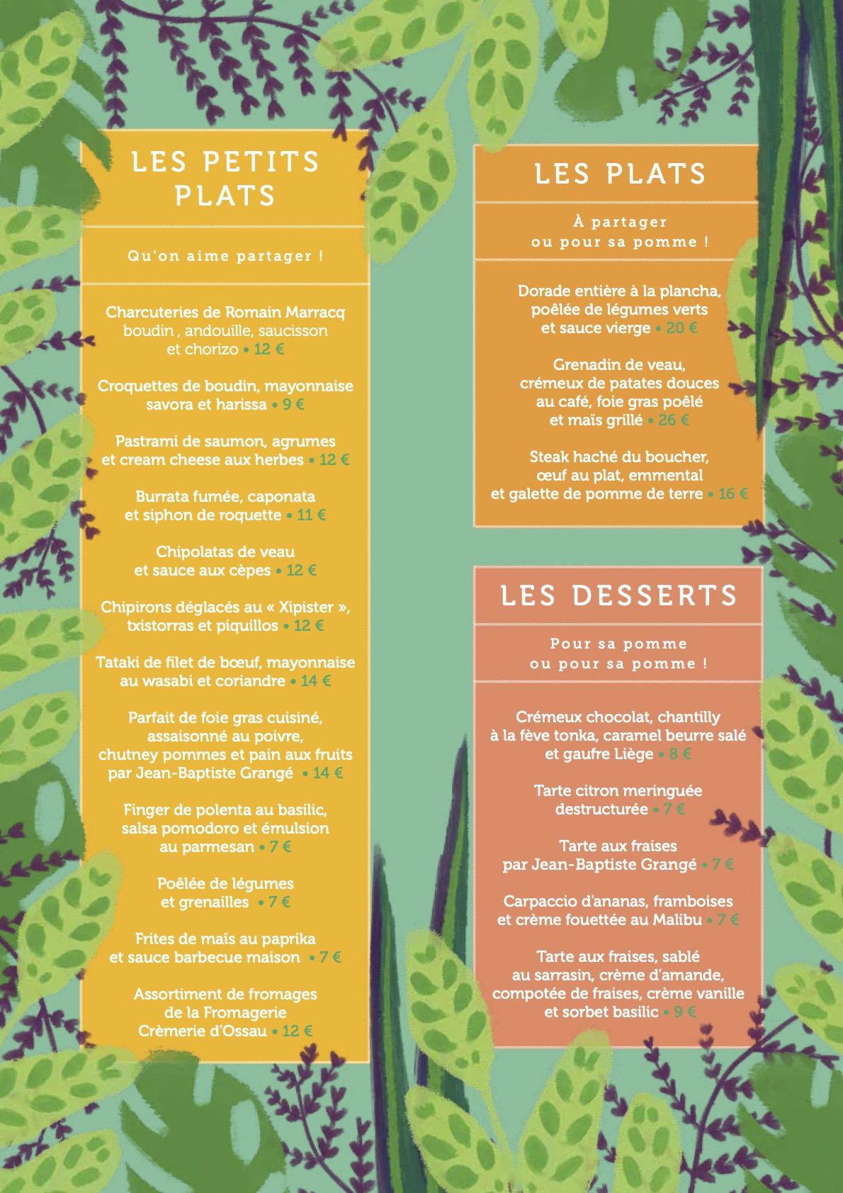 carte ete 2021 Ô Petit Pau